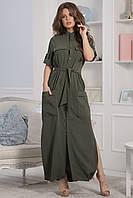 Каролина Платье длинное цвета хаки, фото 1