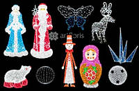 Световые объемные фигуры, светящиеся олени, светодиодные бабочки, шары, медведи, дед мороз, снегурочка