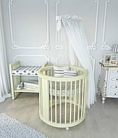 Кроватка овальная трансформер (круглая) 9 в 1 BabySleep + маятниковый механизм