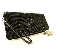 Вечерний клатч, сумочка Rose Heart  3211 черный с черными стразами