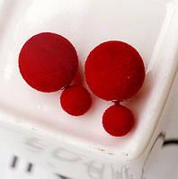 Сережки пуссети, фактура вовняної оксамит, колір бордовий
