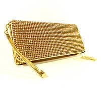 Вечерний клатч, сумочка Rose Heart  3211 золото с белыми стразами, фото 1