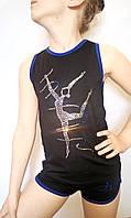"""Майка тренировочная чёрная с синей окантовкой и изображения из страз """"гимнастка"""""""
