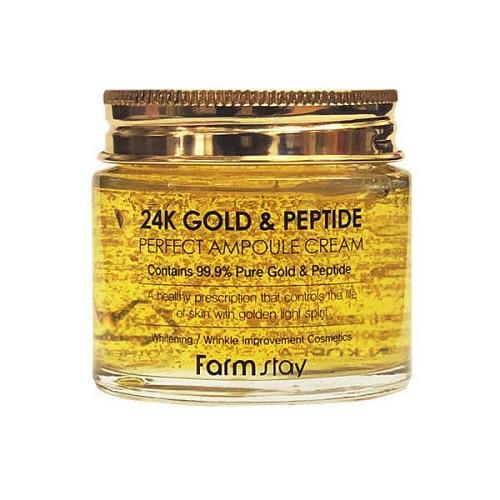 Антивозрастной крем с золотом и пептидами FarmStay 24K Gold & Peptide Perfect Ampoule Cream