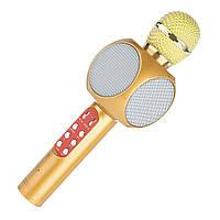 ➜Беспроводной микрофон Micgeek WS-1816 Gold с блютуз Батарея 1800 мАч с ФМ радио караоке