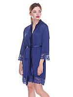 Халат женский из шелка Армани, синий, модель 601 с кружевной отделкой ТМ Serenade