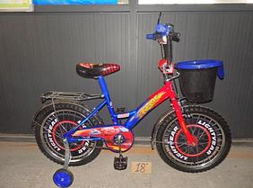 Детский двухколесный велосипед 12 дюймов Mustang Тачки с корзинкой синий