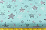 """Бязь польская """"Узорчатые звёзды"""" графитовые на бирюзовом (№2262а), фото 2"""