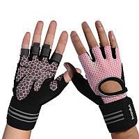Перчатки для тренажерного зала, фитнеса мужские, женские с напульсником (Boodun) Розовый, M, фото 1