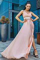 Женское нарядное летнее платье, персиковое, праздничное, молодёжное, выпускное, вечернее, элегантное, макси