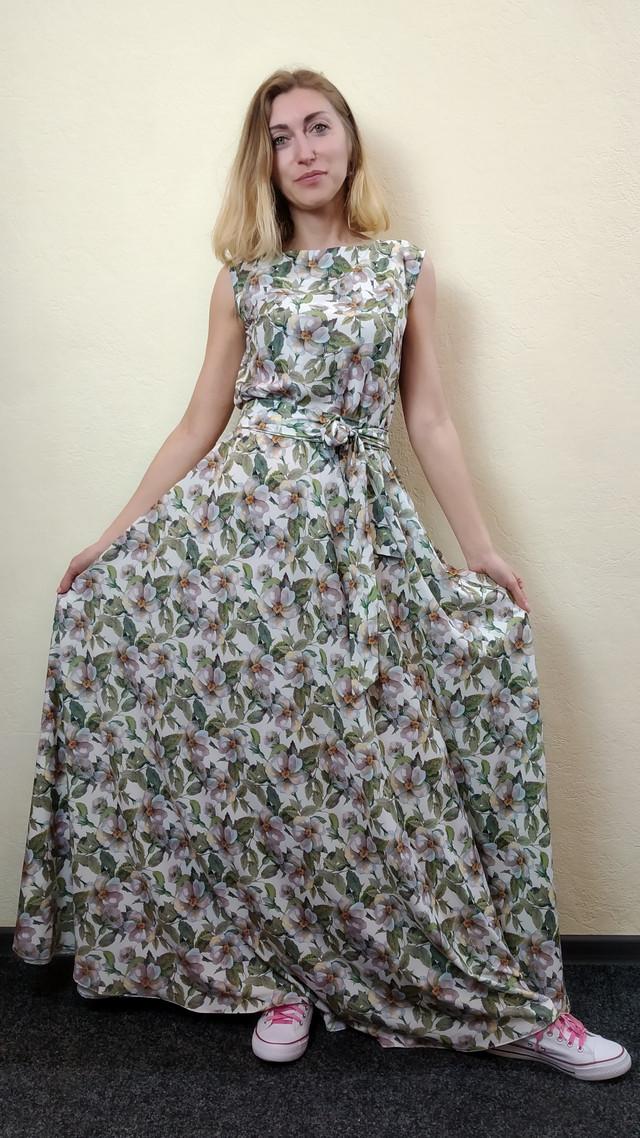 Женское летнее платье в пол с юбкой полусолнце П266