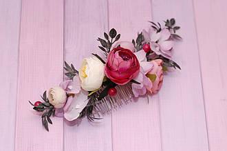 Гребень  заколка с цветами Праздничный
