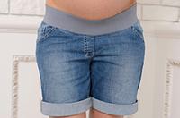 Шорты летние для беременных с бандажной вставкой Mommy Синий Размер 42 (4010)