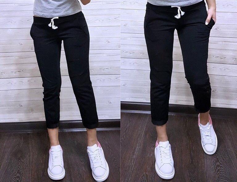 Штаны для прогулок и спорта укороченные штанишки спортивные капри со шнурочком трикотаж двунитка С-ка черные