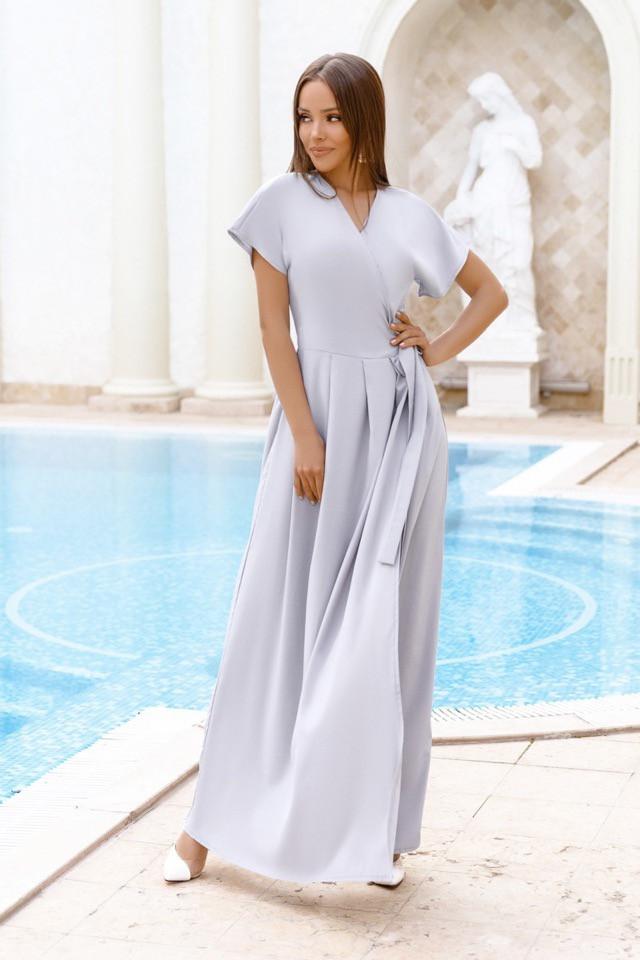 Платье женское длинное на запах однотонное (К27711)