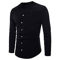 Черная рубашка без ворота, фото 1