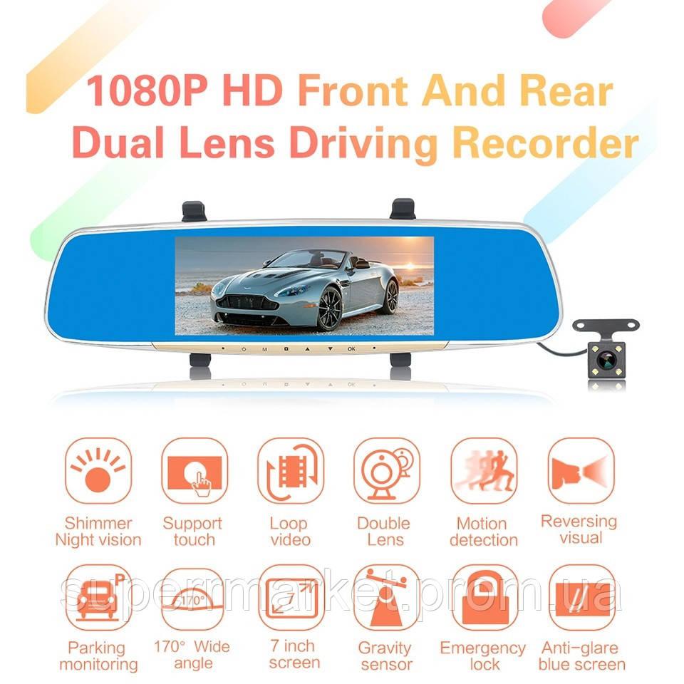 """Car DVR A11  V100  автомобильный регистратор-зеркало, сенсорный экран 7"""" с двумя камерами"""