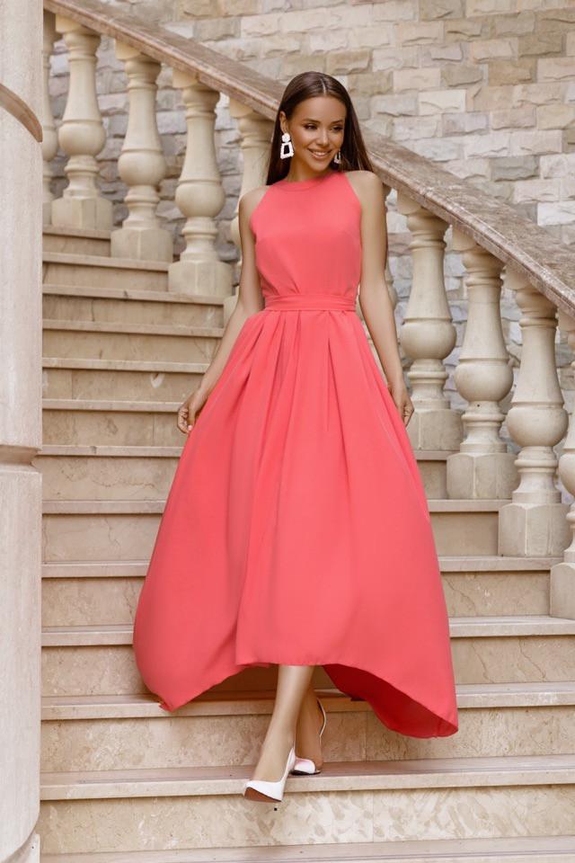 Платье женское длинное без рукавов со шлейфом под пояс (К27712)