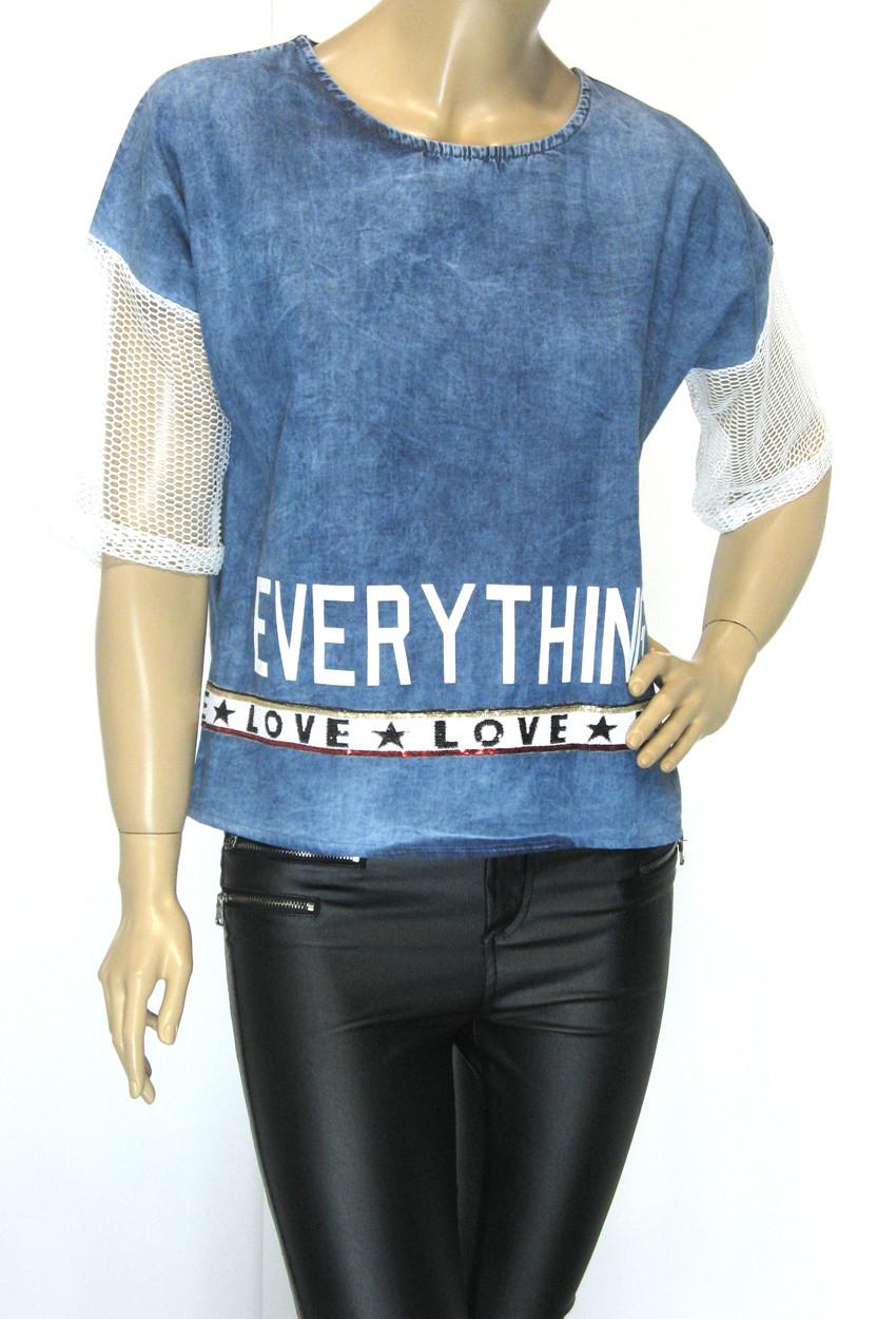 Джинсова жіноча футболка