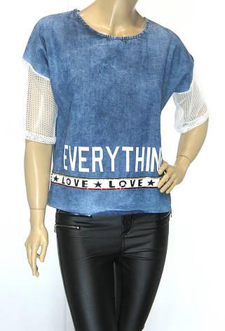 Джинсова жіноча футболка, фото 2