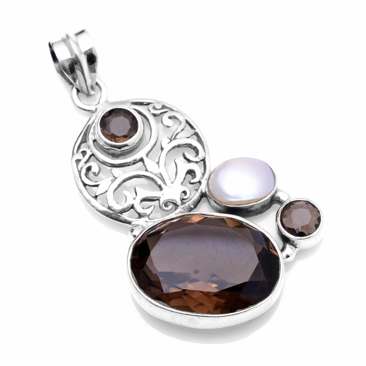 Кулон из серебра с натуральным раухтопазом дымчатым кварцем и жемчугом, 534ПР