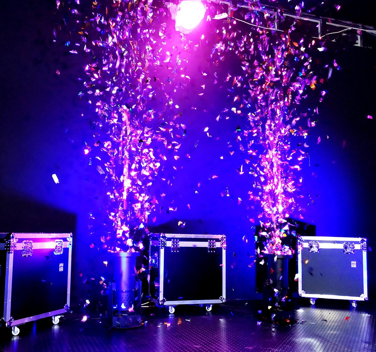 Аренда Генератор конфетти 1500 Вт с Led подсветкой, пультом ДУ, DMX512