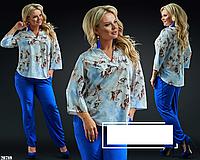 Повсякденний жіночий костюм блузка з брюками, з 50-60 розмір, фото 1