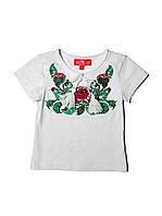 Футболка-вишиванка біла для дівчинки Трояндова гладь бордо Piccolo L