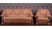 Кожаный комплект мебели Grizzly бежевый, мягкая мебель, кожаная мебель, комплект мебели