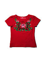 Вишиванка-футболка для дівчинки червона Трояндова гладь рожевим Piccolo l