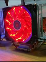 Красный LED кулер для охлаждения процессора 100W\TDP новый с подсветкой