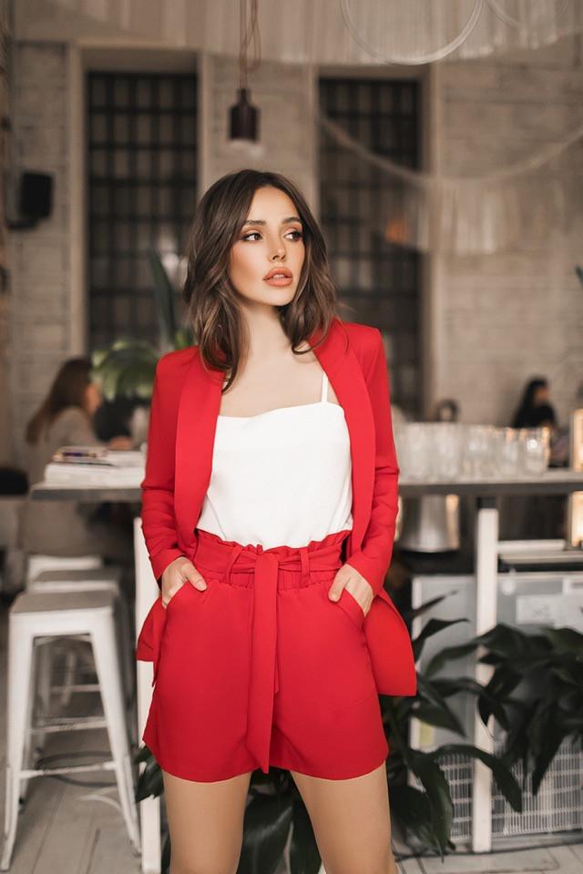 Костюм женский с завышеной талией шортами и пиджаком (К27713)