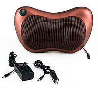Портативный роликовый массажер в авто и для дома HOME CAR MASAGE PILLOW, массажная подушка, коричневая
