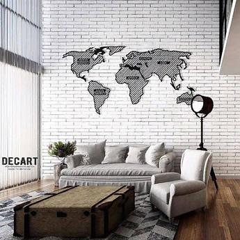 Декоративное панно из дерева Карта мира