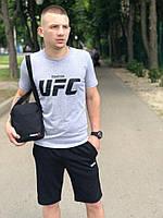 Футболка UFC серая + шорты Reebok черные летние стильные мужские. Барсетка в подарок, фото 1