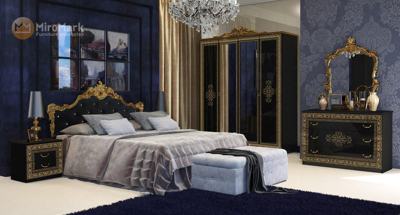 Спальня Дженифер 3Д черный-золото Миромарк