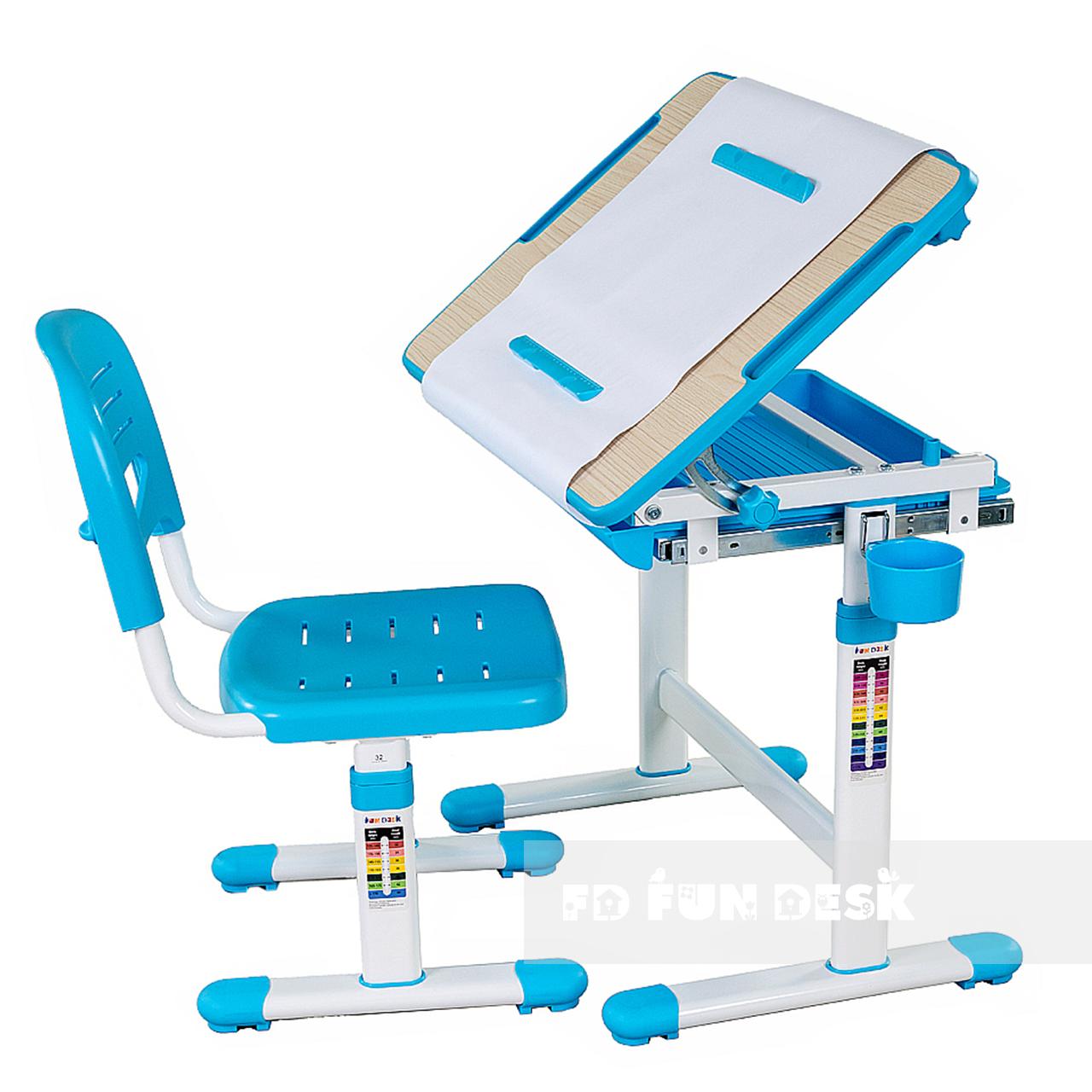 Детская парта и стульчик для школы FunDesk Bambino Blue - ОПТОМ ДЛЯ ШКОЛ