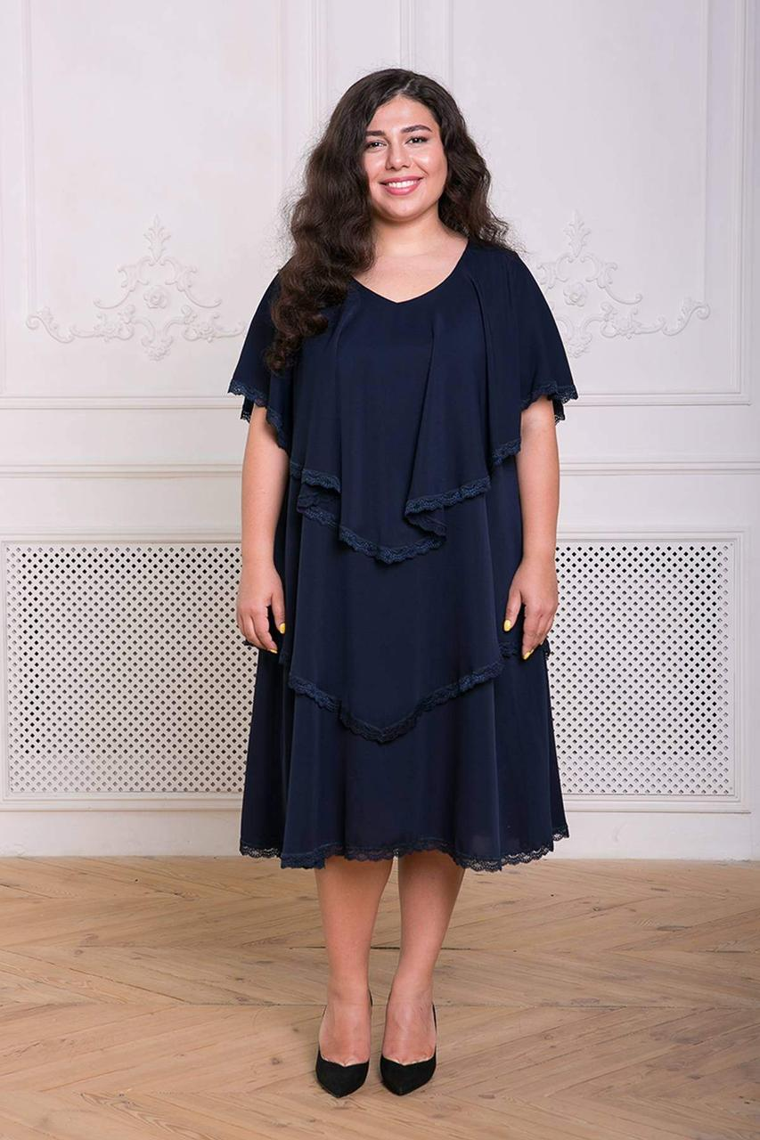 / размер 54,56,60 / Женское нарядное коктейльное платье с широкими оборками / Девис темно-синее