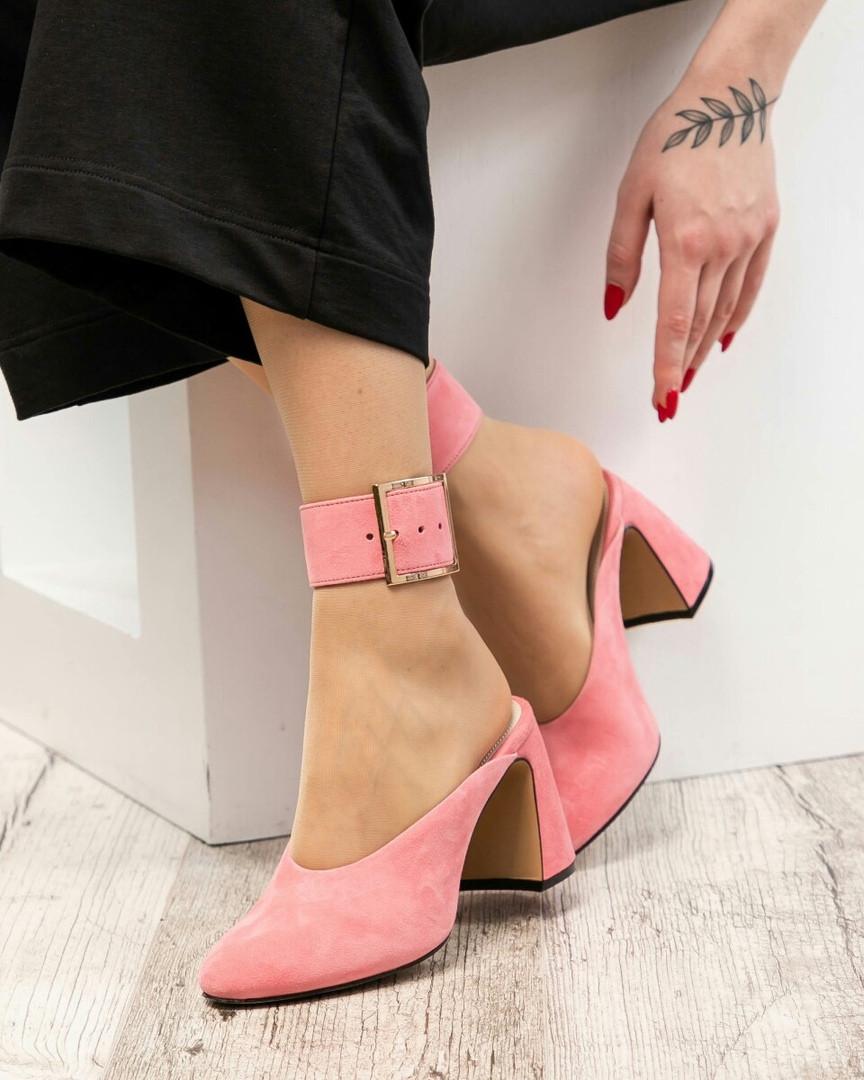 Стильные мюли на каблуке замша розовые