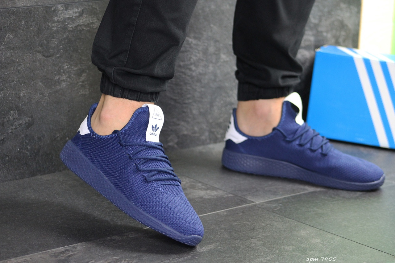 Мужские летние кроссовки Adidas Pharrell Williams,синие,сетка