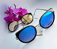 Зеркальные солнцезащитные очки Cat Eye черные с металическими вставками (092), фото 1