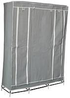 🔝 Портативный тканевый складной шкаф-органайзер для одежды на 3 секции - серый | 🎁%🚚