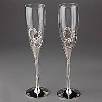Свадебные бокалы Два сердца (002G)