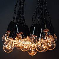 Ретро гирлянда из ламп накаливания 15 метров 23 прозрачных лампы 25Вт +3 метра доп.кабель