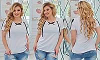 Женская футболка из двунити декольте на завязках 50-52, 54-56