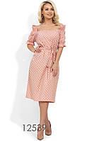 Пудровое летнее платье в горошек из коттона Д-1152