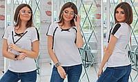 Женская футболка из двунити декольте на завязках 42-44, 46-48