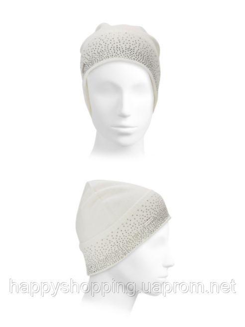 Женская оригинальная серая шапка  со стразами популярного бренда Calvin Klein