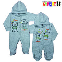 Комбинезон - человечек для новорожденных, с вышивкой (капитон)