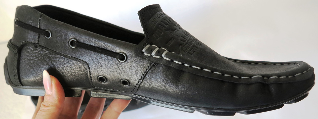 408f62e305f85a Натуральна шкіра туфлі мокасини чорні шкіряні Levi Strauss Islands Левіс  весна літо -